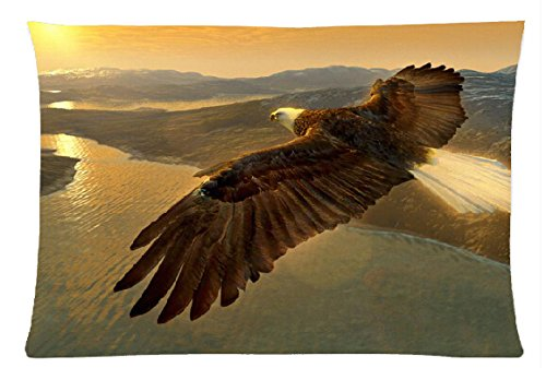 Birds Eagles Animals Fly in the sky Style Pillowcase Cover 20x30 (Two Sides) Cotton Zippered Pillow Case