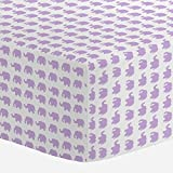 Carousel Designs Pastel Purple Elephant Parade Crib Sheet - Organic 100% Cotton Fitted Crib Sheet - Made in the USA