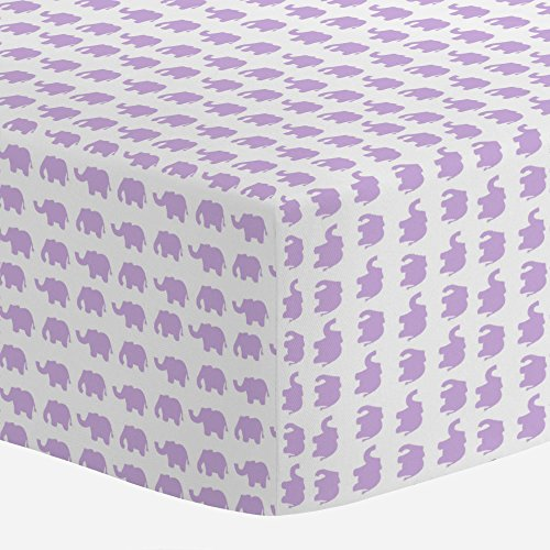 Carousel Designs Pastel Purple Elephant Parade Crib Sheet - Organic 100% Cotton Fitted Crib Sheet - Made in the USA by Carousel Designs