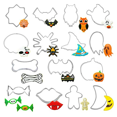 QINGQIU 15 Pieces Halloween Cookie Cutters Stainless Steel Trick or Treat Biscuit Mould for Halloween Party Supplies