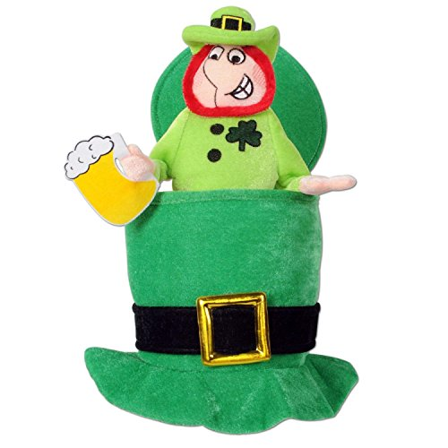 Pack of 6 Green Plush Top Hat with Leprechaun and Beer - Adult Sized - 6 Pack Beer Costume