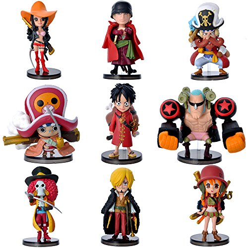 9Pcs Anime One Piece Action Figure with Base Set The Straw Hats Luffy Roronoa Zoro Sanji Chopper PVC Model Toy Car Decoration