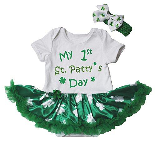 Petitebella My 1st St Patty's Day Bodysuit Green Clovers Tutu Baby Dress Nb-18m (White Green Clovers, 12-18 -