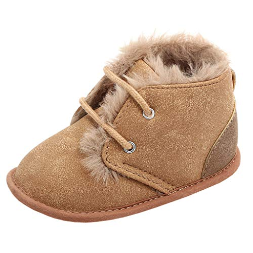 Annnowl Baby Boots Winter Training Warm Shoes 0-18 Months (0-6 Months, Brown)