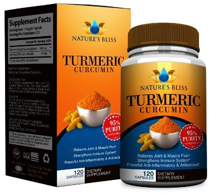 Nature's Bliss Anti-Inflammatory 1300mg Curcumin Dietary Supplement - 120 Veggie Capsules