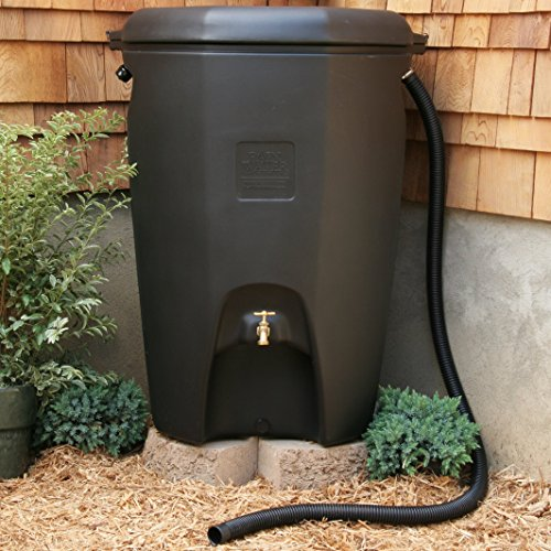Moby 65 gal. Rain Barrel with Removable Debris Screen and Overflow Hose in Black (Barrels Rain Wooden)