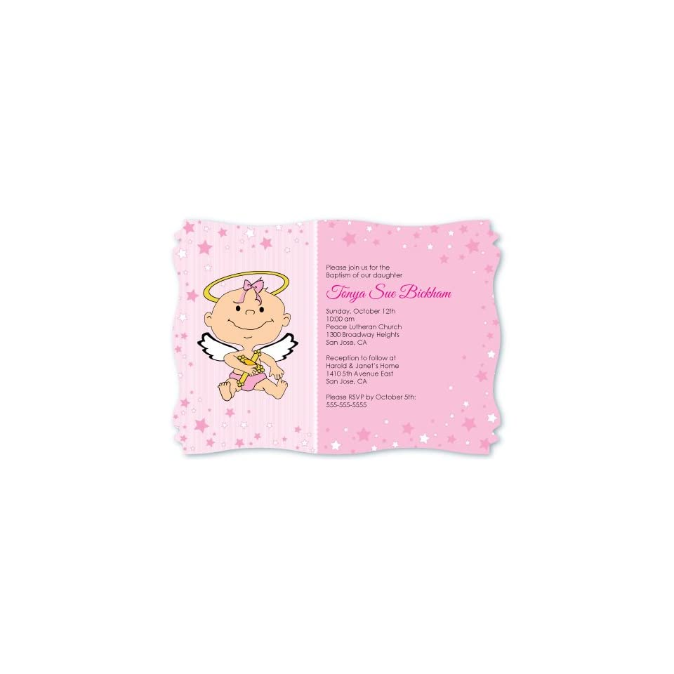 Angel Baby Girl   Personalized Baptism Invitations