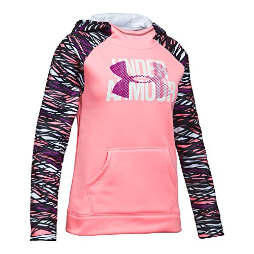 Under Armour Girls' Armour Fleece Big Logo Printed Hoodie, Pop Pink (979)/Purple Rave, Youth X-Large ()