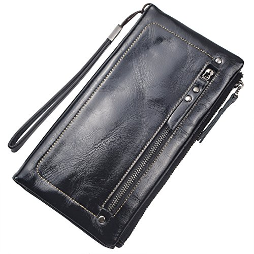 Bveyzi Women's Large Capacity Soft Leather Wristlet Wallet Checkbook Passport Holder (Black)