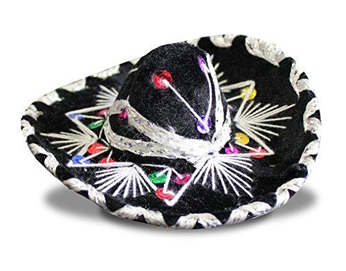 Charro Sombrero (Del Mex SET OF THREE (3) Mexican Charro MINI Sombrero Mariachi Felt Costume Decor (BLACK))