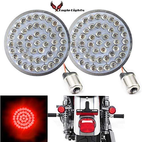 Eagle Lights 2 inch Red Rear LED Turn Signals for Harley Davidson Rear (1156) Turn Signals, No Smoke Lenses