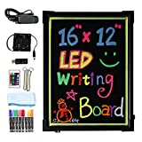 "LED Writing Message Board, 16"" x 12"" Illuminated Erasable Neon Effect Restaurant Menu Sign with 8 colors Markers, 7 Colors Flashing Mode DIY Chalkboard for Kitchen Wedding Promotions by Hosim"