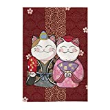 FANCY PUMPKIN Japanese Noren Curtain Maneki Neko Lucky Cat Entrance Curtain Hallway Curtain, E-10