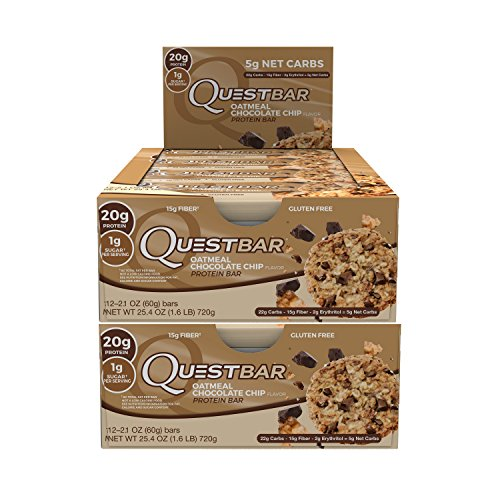 Quest Nutrition Protein Bar Oatmeal Chocolate Chip. Low Carb Meal Replacement Bar w/20g+ Protein. High Fiber, Soy-Free, Gluten-Free (24 Count) (Chewy Chocolate Chip Oatmeal)