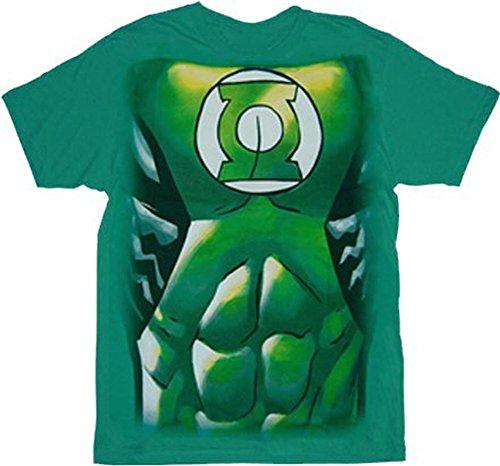 Green Lantern Muscle Costume Print Green Adult T-shirt Tee (Adult XX-Large)