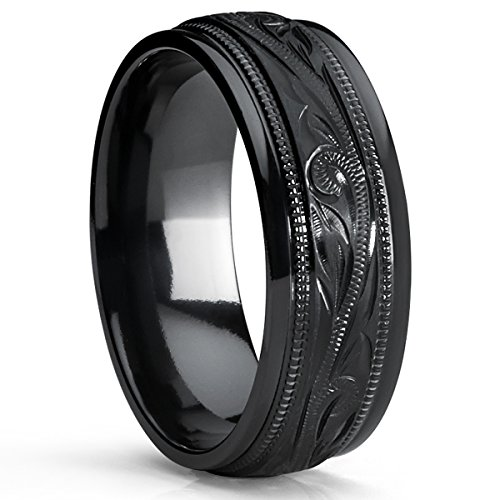 Hand Engraved Wedding Band - Metal Masters Co. Men's Hand Engraved Floral Black Plated Titanium Wedding Band Engagement Ring, Dome 8mm Size 11