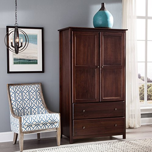 Country Solid Pine Armoire - 2-Door Solid Wood Armoire, 2 Drawers and 2 Large Doors, Made of Pine Wood, Metal Knobs, Luxurious ans Spacious, Sturdy Construction, Elegant and Stylish, Includes Hardware, Merlot Cherry Finish