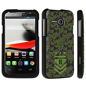 DuroCase ? Alcatel One Touch Evolve 5020T Hard Case Black - (Army Camo Monogram R)