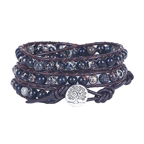 Bonnie Tree of Life Bracelet For Women Imperial Jasper Bead Leather Wrap (Bonnie Black Leather)