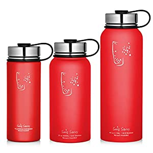 Swig Savvy Water Bottles Stainless Steel - Vacuum Insulated Water Bottle + Stainless Steel Leak & Sweat proof Cap Double Wall Thermos Flask For Hot or cold Beverages (Red, 40oz)