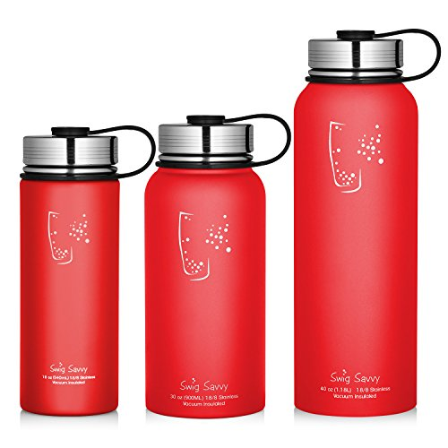 Swig Savvy Water Bottles Stainless Steel - Vacuum Insulated Water Bottle + Stainless Steel Leak & Sweat proof Cap Double Wall Thermos Flask For Hot or cold Beverages (Red, (Where To Buy Red Contacts)
