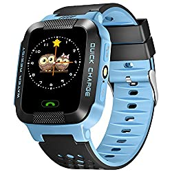 Smartwatch for Kids with GPS, GIZEE Touch Screen Wrist Watch Anti-lost SOS Remote Monitor with Flash Night Light for Children Safety, Compatible with iPhone Android etc. (Blue)