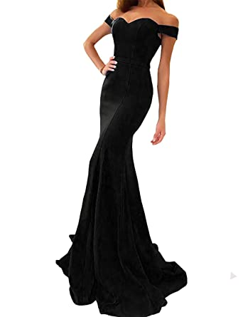 4804c3acd3a Yinyyinhs Women s Off The Shoulder Mermaid Evening Dresses Long Prom Gowns  Size 2 Black