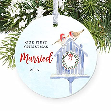 first christmas married our 1st xmas wedding gift for husband wife mr and mrs watercolor