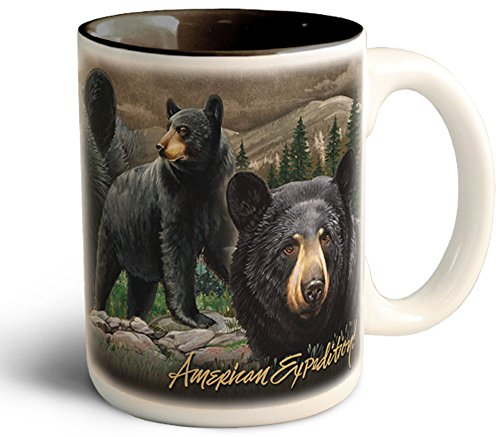 Wildlife Collage Series 15oz Stoneware Coffee Mug (Black Bear)
