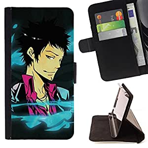 For HTC DESIRE 816 - Funny Cool Anime Guy /Funda de piel cubierta de la carpeta Foilo con cierre magn???¡¯????tico/ - Super Marley Shop -