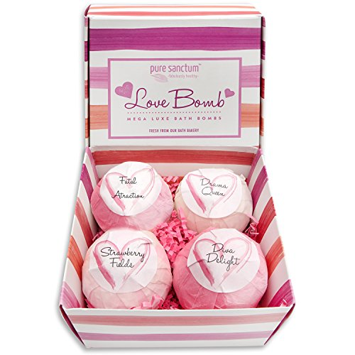 Bath Bombs Gift Set - Luxury Bath Fizzies - Lush Size 6oz Natural Bath Balls - US Made - Love Bomb