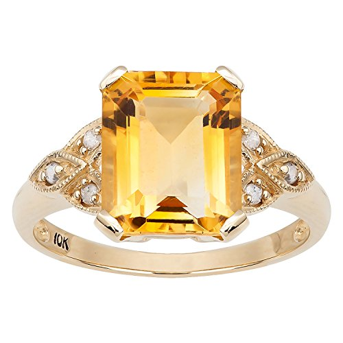 10k Yellow Gold Vintage Style Genuine Emerald-Cut Citrine and Diamond -