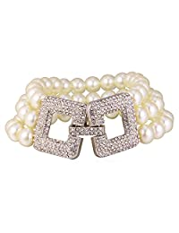Ladies Grade A Simulated White Pearl And Crystal 3- Row Bracelet