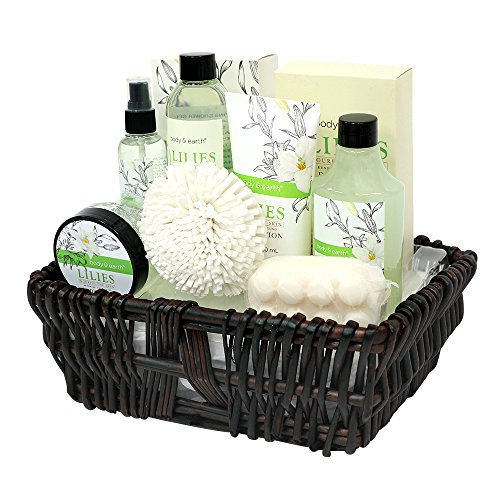 Gift Baskets for Women, Body & Earth Spa Gifts for Her, Lily 10pc Set, Best Gift Idea for Women (Ideas For A Spa Gift Basket)