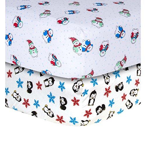 Snowman and Penguin Print Flannel 2 Piece Crib Sheet Set