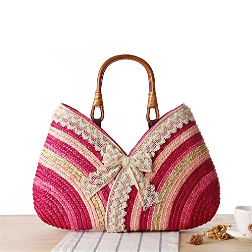 Straw Bohemia Beach Rattan Bow Amuele Bag Bag Pink Woven Weave Shopping Shoulder Women Beach Lace Straw Handbag Hot Tote 8wxqxAH4