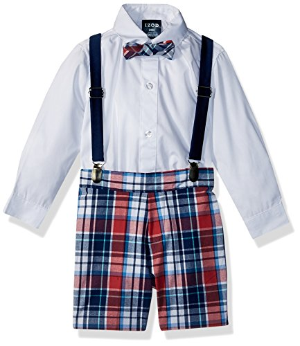 IZOD Baby Boys Creeper Suspender Set, White, 24 Month - Baby Infant Creeper