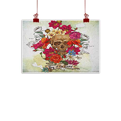 warmfamily Home Wall Decorations Art Decor Day of The Dead,Skull Dead Head with Flowers Daisies Spanish Festive Tradition Celebration, Multicolor 48