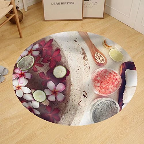 Gzhihine Custom round floor mat Foot bath in bowl with lime and tropical flowers spa pedicure treatment top view by Gzhihine