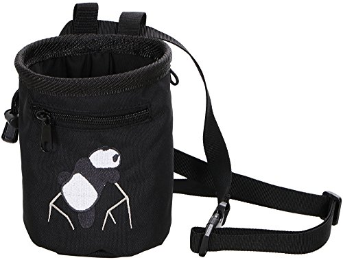 AMC Rock Climbing Panda Embroidered Chalk Bag w/ Zip Pocket