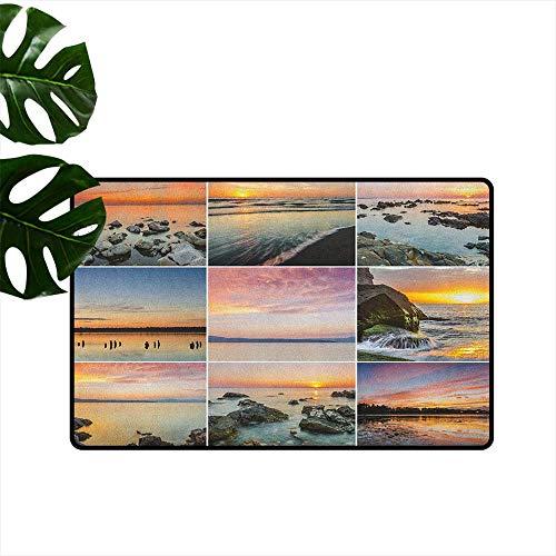 RenteriaDecor Landscape,Universal Door Mat Sunset Panorama Sun Rays Over Sea Stones Mountains Natural Paradise Coast Summer 31