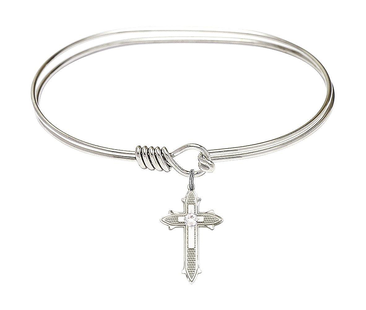 Cross Charm On A 7 Inch Oval Eye Hook Bangle Bracelet