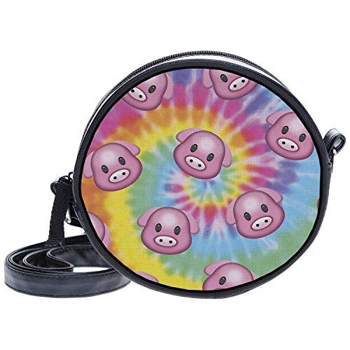 Fringoo - Bolso cruzados para mujer Multicolor Emoji Week Small Tie Dye Pig