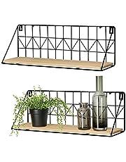 Mkouo Flytande hyllor väggmonterad uppsättning av 2, rustik trä vägg förvaringshyllor med metalltråd displayhylla för sovrum vardagsrum badrum kök kontor