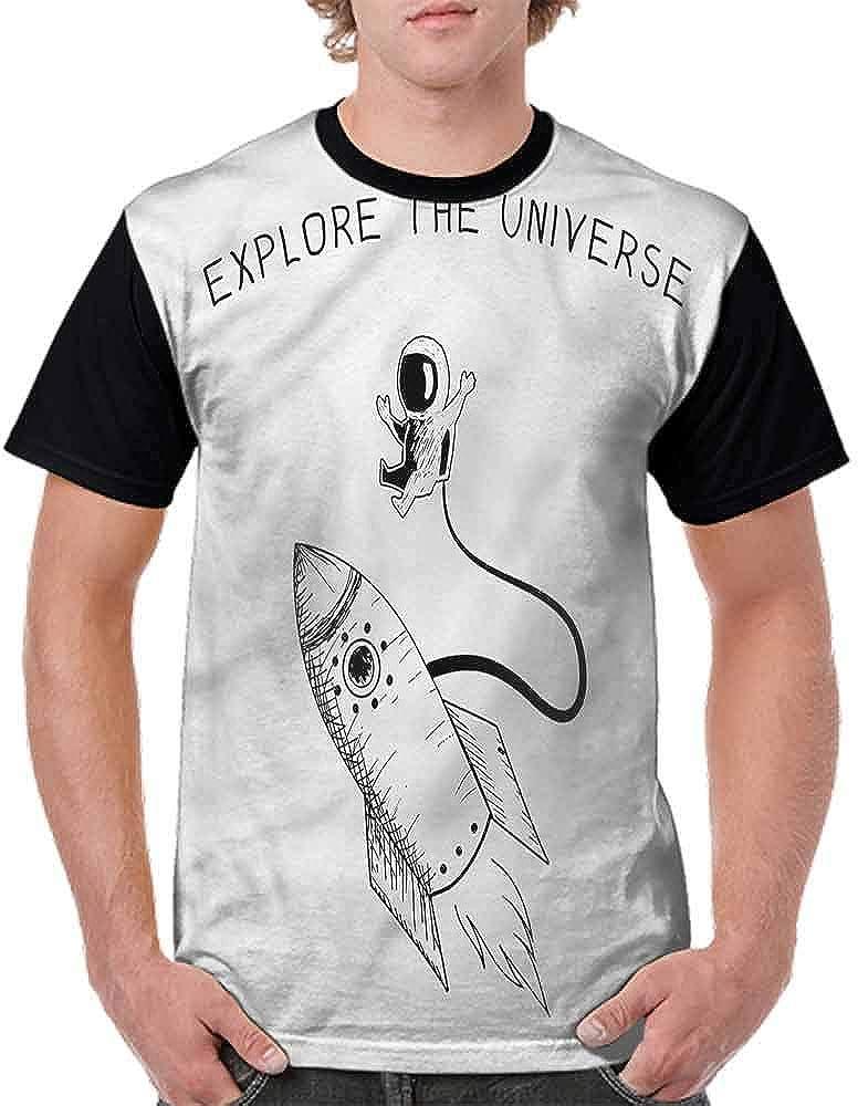 BlountDecor Casual Short Sleeve Graphic Tee Shirts,Explore The Universe Fashion Personality Customization