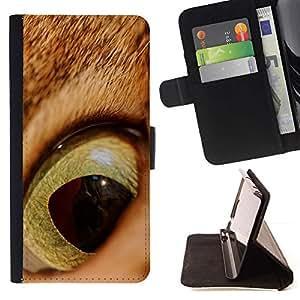Momo Phone Case / Flip Funda de Cuero Case Cover - Gato jengibre anaranjado Ojo Pelo Corto Alumno; - Samsung Galaxy S6 Edge Plus / S6 Edge+ G928