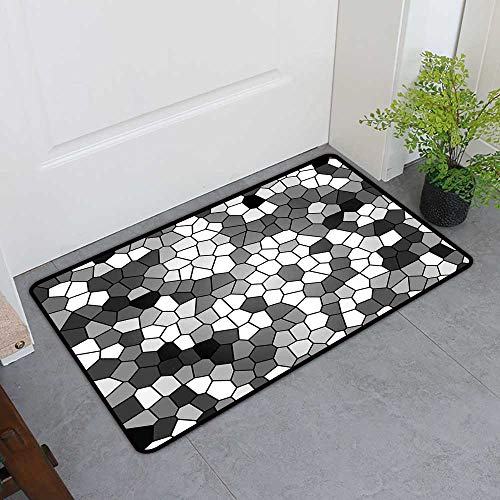 TableCovers&Home Pet Mat Machine Washable, Grey and White Custom Doormats for Office, Stained Glass Pattern with Abstract Composition Mosaic (Charcoal Grey White and Grey, H32 x W48)