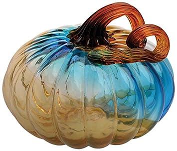 Boston International Gallery Glass Pumpkin Collectible Figurine, 4 , Blue