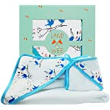 Land of the Wee Newborn Hooded Bath Towel & Washcloth Set| 40% More Absorbent Than Cotton To Quickly Warm and Dry Infant| Organic & Silky Soft Texture Extra Gentle For Baby to Toddler Girl or Boy