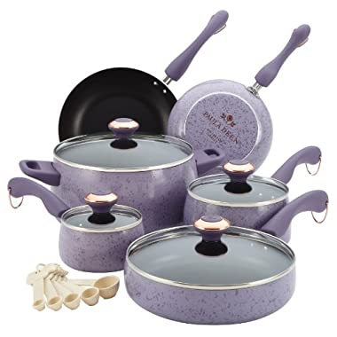 Paula Deen Signature Porcelain Nonstick 15-Piece Cookware Set, Lavender Speckle